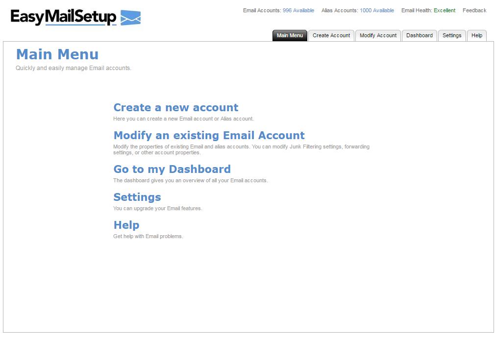 EasyMail Setup Main Menu