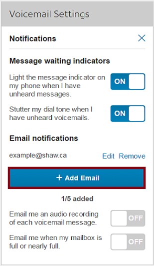 Voicemail settings (click to enlarge)