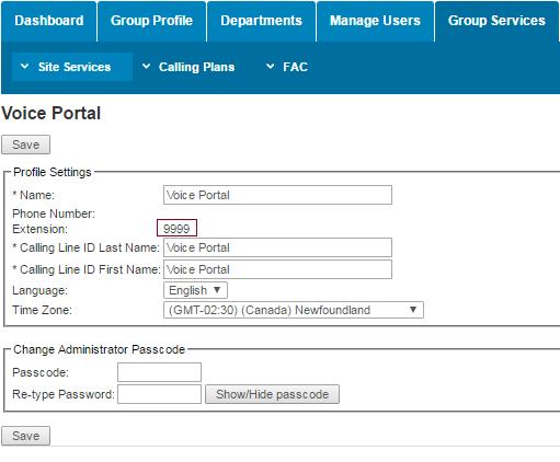 Voice portal management (click to enlarge)