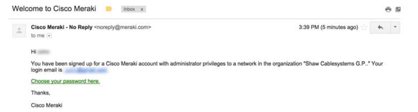 Meraki welcome email (click to enlarge)
